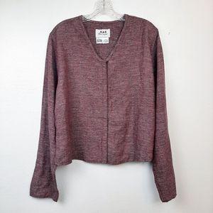 Flax Shacket Jacket Snap Button Linen V Neck M